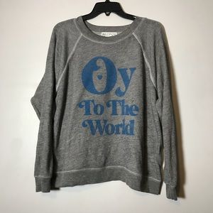 Wildfox oy to the world gray blue sweater size S